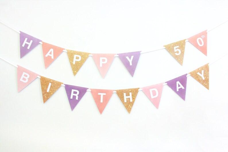 50th Banner Birthday Decorations Bunting