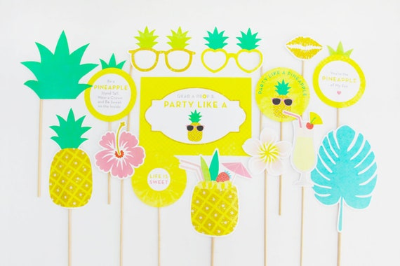 Pineapple Party Photo Booth Props Tropical Props Tropical Etsy