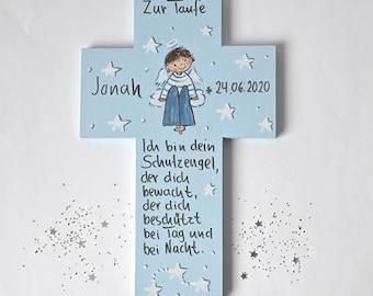 Kinderkreuz Taufgeschenk Jungen Geburt Schutzengelkreuz Taufkreuz Taufe  Holzkreuz Taufgeschenk Patengeschenk bemaltes Kinderkreuz