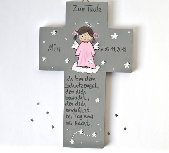 Taufgeschenk Mädchen Personalisiert Taufe Kinderkreuz Schutzengel Kreuz Holzkreuz Taufgeschenk Patengeschenk Bemaltes Kinderkreuz