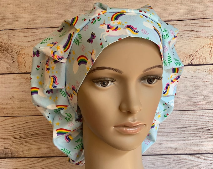 Rainbows & Unicorns Bouffant Cap~~ Scrub Caps for Women ~Scrub Hats