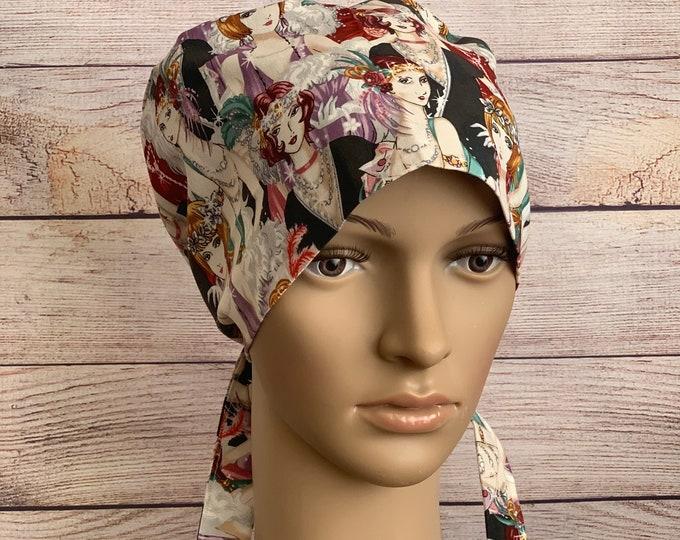 Flapper Style Surgical Scrub Cap~ Scrub Hats~ Scrub Caps for Women~ Pixie Tie-Back