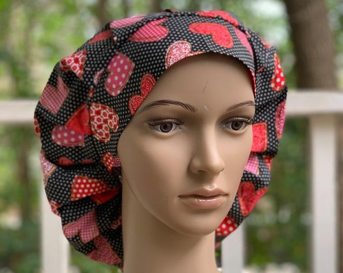 Patterned Hearts Bouffant Cap~Scrub Caps for Women ~Scrub Hats~ Valentine's Day