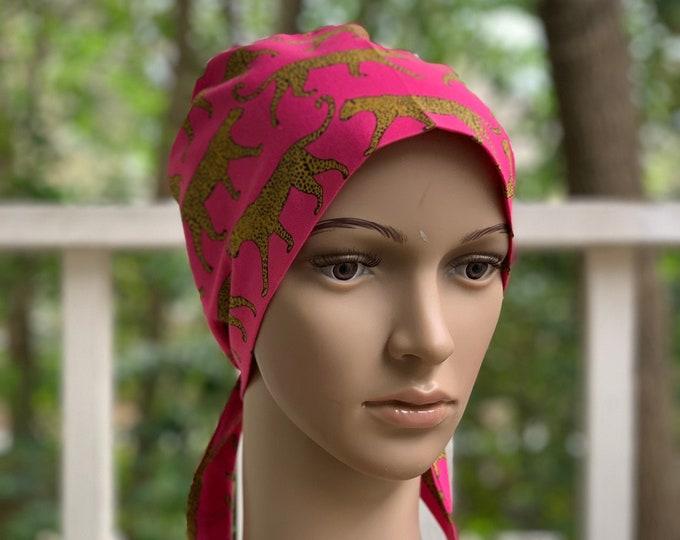 Cheetah in Pink Surgical Scrub Cap~ Scrub Hats~ Scrub Caps for Women~ Pixie Tie-Back