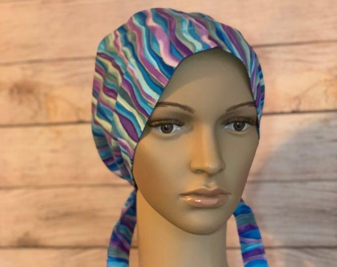 Purple & Blue Waves Surgical Scrub Cap~ Scrub Hats~ Scrub Caps for Women~ Pixie Tie-Back~ Metallic
