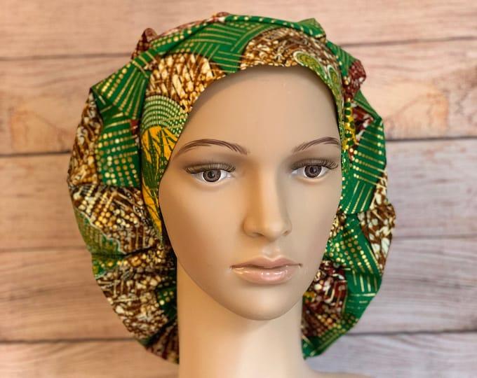 Green & Gold Ankara Bouffant Cap~Scrub Caps for Women ~Scrub Hats