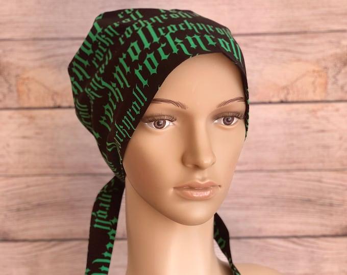 Rock n' Roll ~ Surgical Scrub Cap~ Scrub Hats~ Scrub Caps for Women~ Pixie Tie-Back