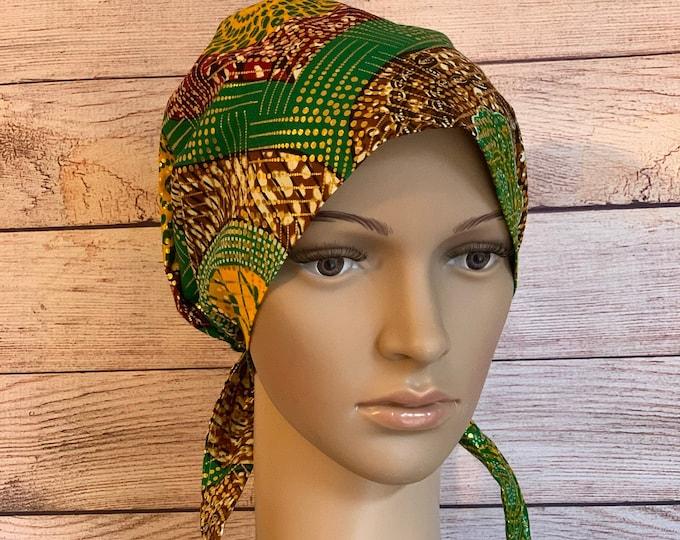 Green & Gold Ankara~ Surgical Scrub Cap~ Scrub Hats~ Scrub Caps for Women~ Pixie Tie-Back~ Metallic