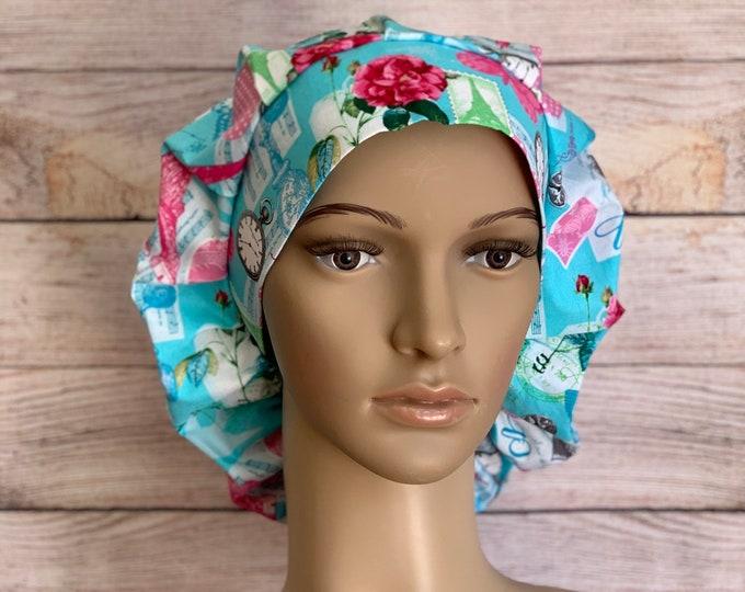 Meet Me in Paris Bouffant Cap~Scrub Caps for Women ~Scrub Hats