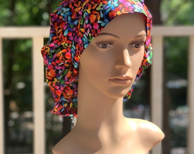 Rainbow Leaves~ Surgical Scrub Cap~ Scrub Hats~ Scrub Caps for Women~ Bouffant Cap