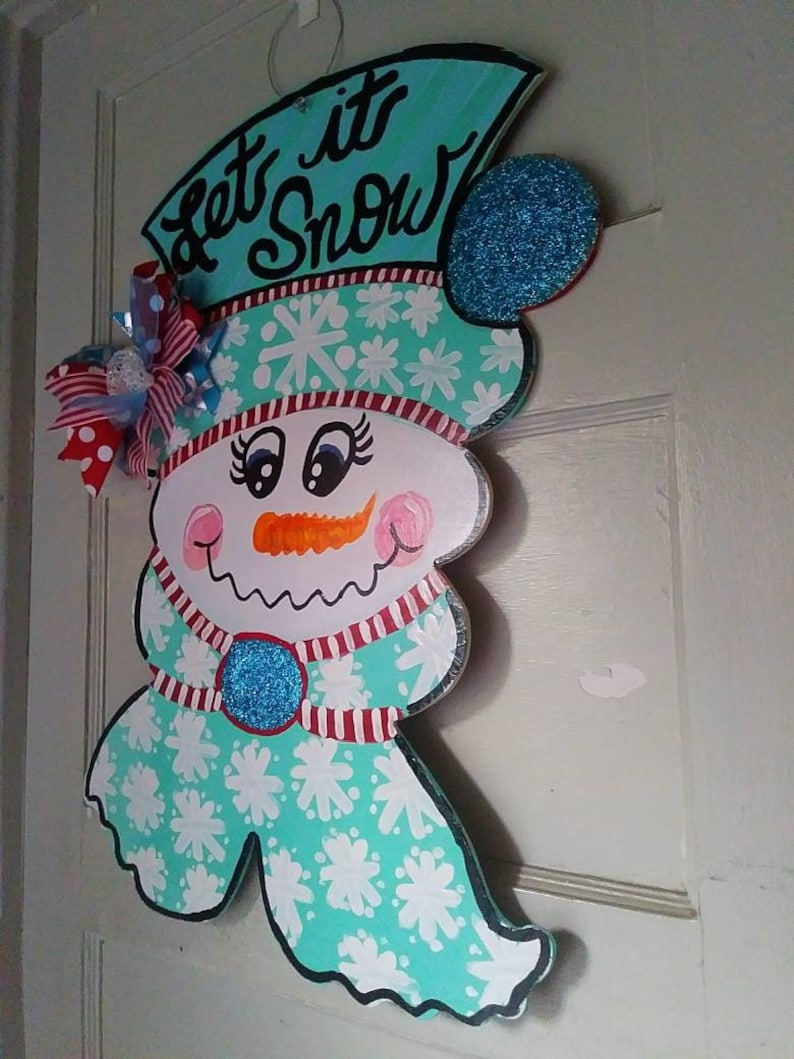 Christmas Snowman Door Hanger Frosty The Snowman Door Hanger Etsy