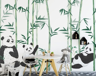 Hand-paint Chinese Cute Panda Bamboo Cartoon Murals Wallpaper for Child Baby Room Wall Mural Cartoon Wall paper