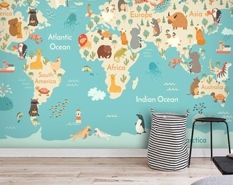 World map wallpaper etsy cartoon world map wallpaper animal cartoon map wall mural wall artwall decal kids and nursery bedroom wall paper gumiabroncs Images