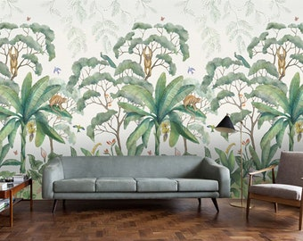 jungle wallpaper etsyretro jungle wallpaper mural, tropical rainforest jungle green trees wall mural, numbers monkeys jungle, custom personalized