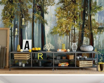 forest wall mural etsyeuropean vintage oil painting huge trees forest wallpaper wall mural, abstract trees forest wall mural, living or dinning room wall mural