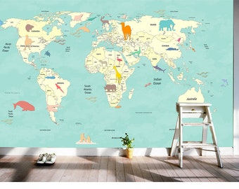 World map wallpaper etsy 3d kids animal world map removable wallpaperwall mural floral wall artwall decalkidsnurserywall sticke gumiabroncs Choice Image