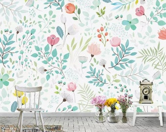 girls room wallpaper etsywatercolor european style handpainted garden wallpaper wall mural, small flowers \u0026 green leaves baby girls\u0027 room nursery kids wall murals
