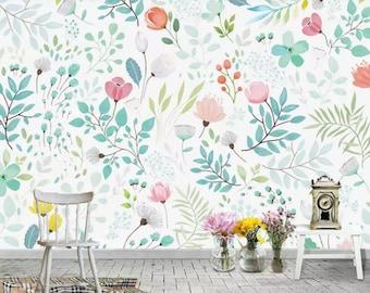 wall mural etsywatercolor european style handpainted garden wallpaper wall mural, small flowers \u0026 green leaves baby girls\u0027 room nursery kids wall murals