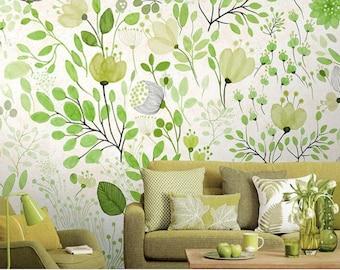 Unicorn Garden Fantasy Wallpaper Woven Self-Adhesive Wall Mural Art Decal M199