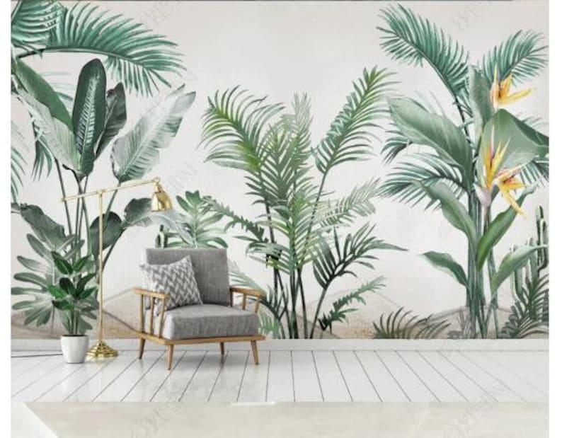 Watercolor Tropical Plants Wallpaper Banana Leaves  Green image 0