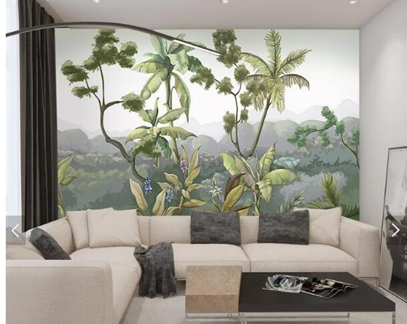 Custom Wall Mural Hand Painted Jungle Trees Wallpaper Forest With Moutains Wall Mural Living Or Dinning Room Wall Painting Wallpaper