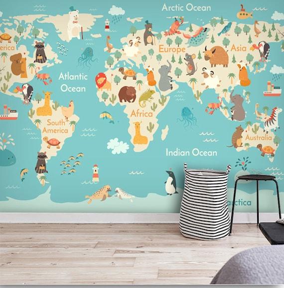 Cartoon World Map Wallpaper Animal Cartoon Map Wall Mural   Etsy