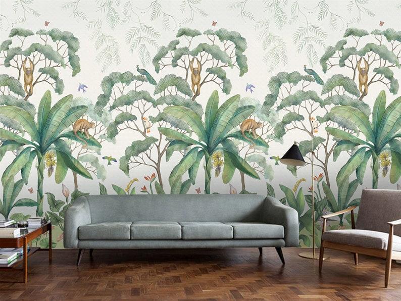 retro jungle wallpaper mural tropical rainforest jungle green etsyimage 0