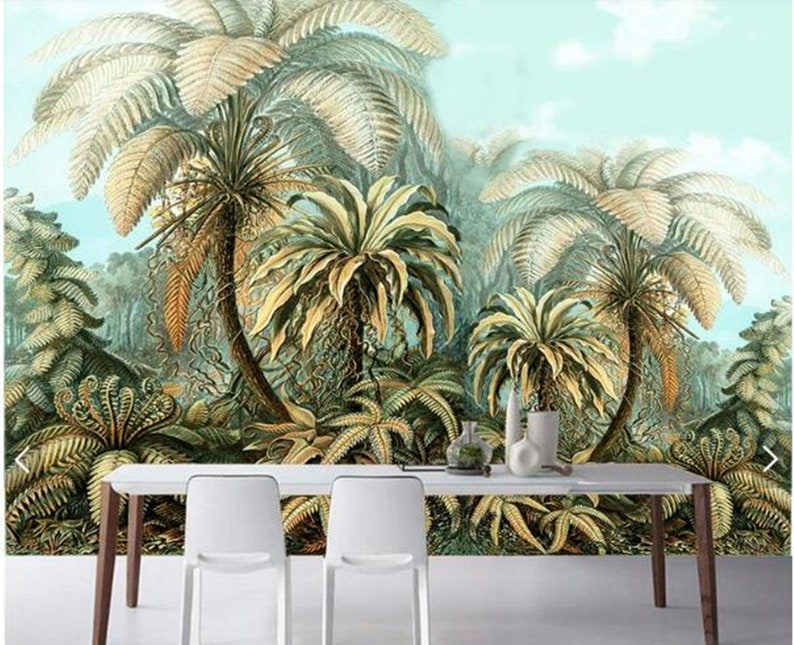 Custom Wall Mural Hand Painted Jungle Maple Tree Wallpaper Tropical Rain Forest Wall Mural Living Or Dinning Room Wall Painting Wallpaper