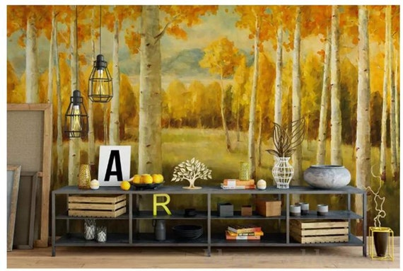 Numbers Trees Wall Mural American Style Warm Color Yellow Birch Forest Wallpaper Living Room or Dinning Room Wallpaper