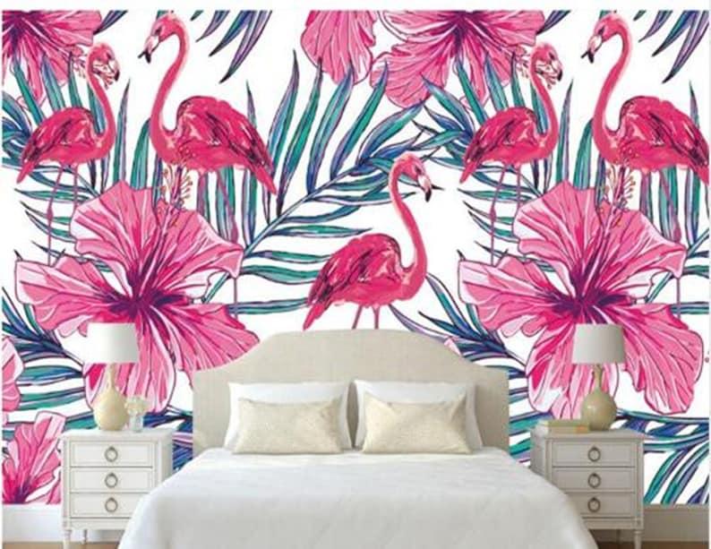 Modern Minimalist High Wallpaper Nordic Hand-painted Flamingo Palm Leaf Bedroom Living Room Wallpaper