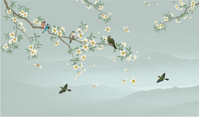 Wall Sticke Living and Dinning Room Wall Decal Hand Painted Hanging Branch Wallpaper Wall Art Flying Birds and Small Flowers Wall Mural