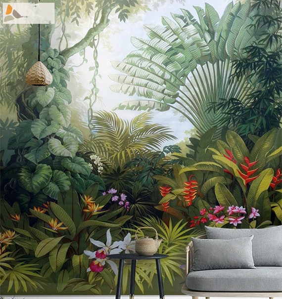 Southeast Asia Forest Wallpaper Wall Mural Huge Tree With Plants And Flowers Wall Mural Living Room Bedroom Wallpaper Wall Decor