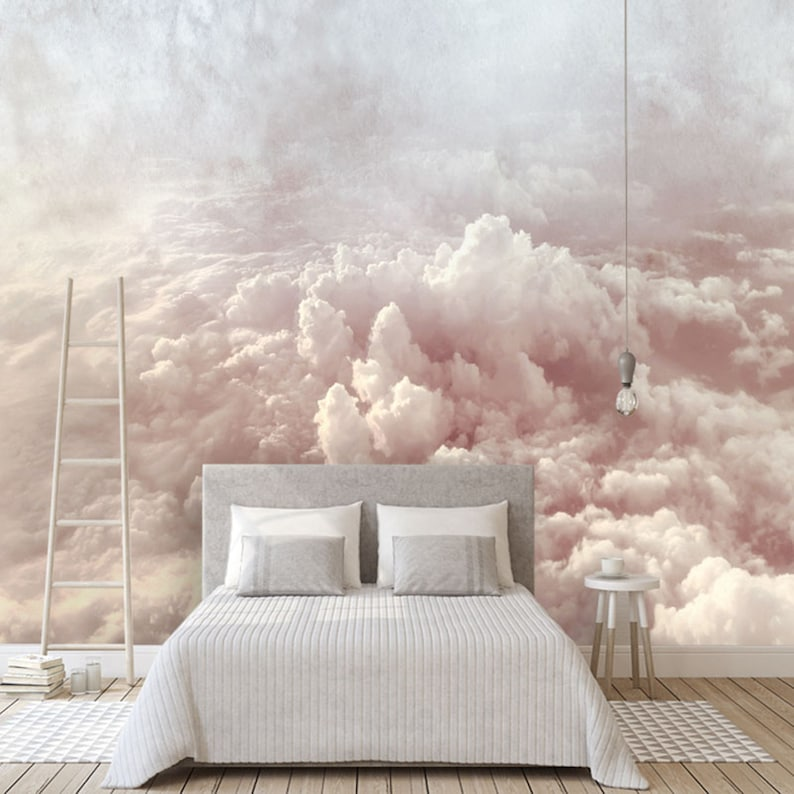 Charmant Hand Painted Abstract Clouds Wallpaper Wall Mural Rendering Image 0 ...