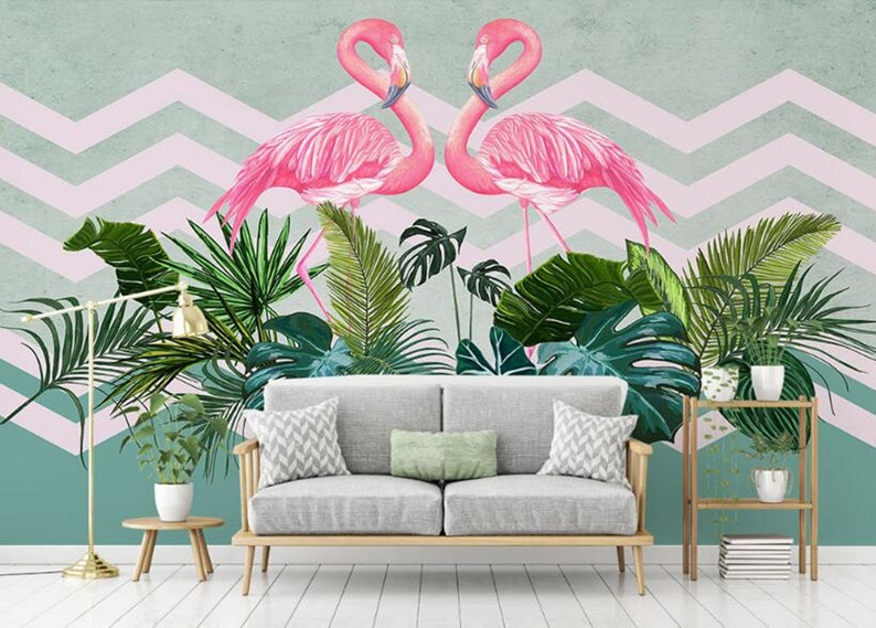 Classic Personality Nordic Minimalist Tropical Plants Two Pink  a73290b6c34d