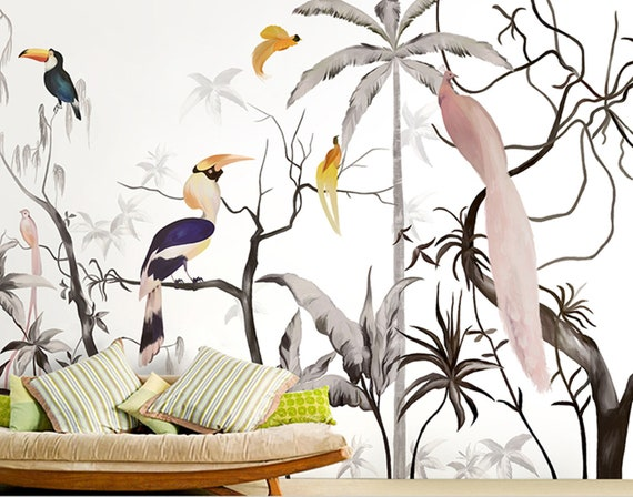 Chinese Style Hand Painted Tree And Birds Wallpaper Colorful Birds And Huge Trees Wall Mural Living Room Or Dinning Room Wallpaper