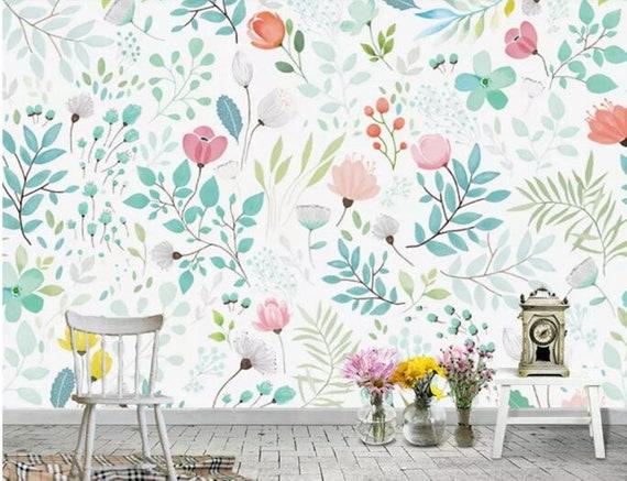 Watercolor European Style Handpainted Garden Wallpaper Wall Mural Small Flowers Green Leaves Baby Girls Room Nursery Kids Wall Murals