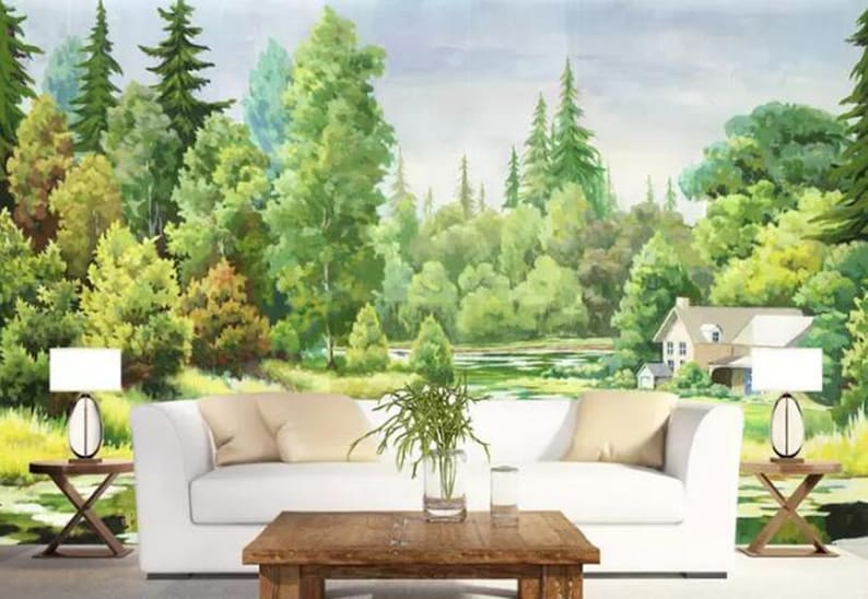 Huge Trees Jungle Wallpaper Green Forest Maple Trees Oil Painting Wall Mural Living Room or Dinning Room Wallpaper