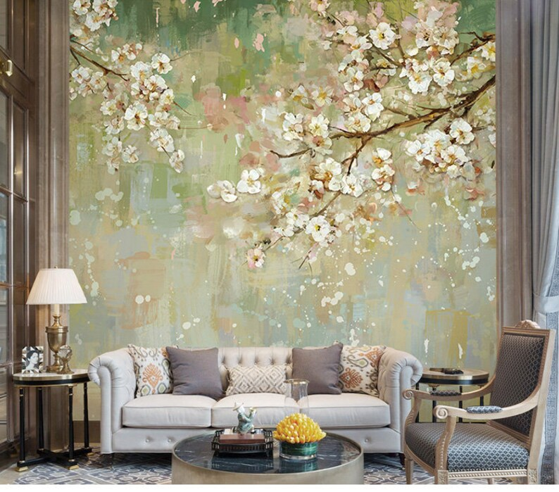 3d floral wall wallpaper light blue tree wall mural floral etsyimage 0
