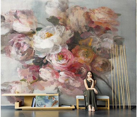 Living or Dinning Room Wall Paper Dutch Victorian Embossed Pink Big Rose Wall Murals Watercolor Handpainted Flower Bones Wallpaper