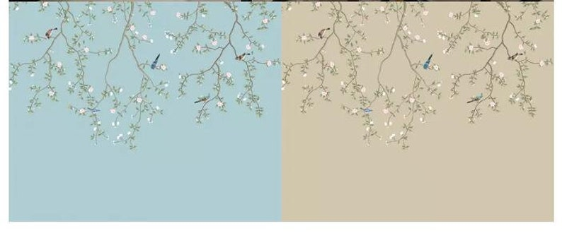 Chinoiserie Brushwork Hand Painted Hanging Plum Blossom Vine Wallpaper Vivid Birds and Light Pink Flowers Home Decor Wall Murals