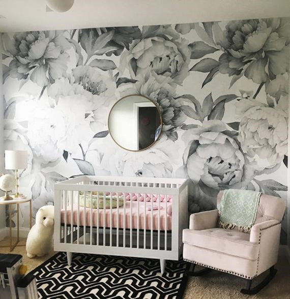 Sketch Hand Painted Big Flowers Girls Kids Nursery Wallpaper Black And White Rose Floral Girl S Room Flowers Wall Murals