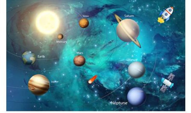 Kids and Nursery Boy/'s Room Wall Paper Blue Background Space Wallpaper Plants and Spacecraft Wall Mural