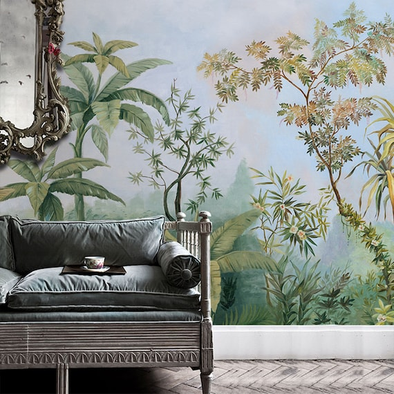 Tropisch Regenwoud Behang Zuidoost Azië Enorme Bomen En Planten Muurschildering Woonkamer Of Slaapkamer Behang Muurschilderingen