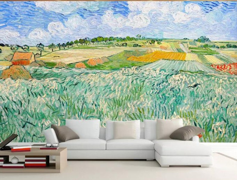 Inspired by Van Gogh Dutch Abstract Oil Painting Wheat Field Wallpaper Dark Green Plants Oil Painting Restaurant TV Background Wall Murals