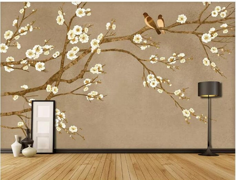 Chinoiserie Brushwork Hand Painted Hanging Cherry Tree and Birds Wallpaper Vivid Birds Floral Wallpaper Home Decor Wall Murals