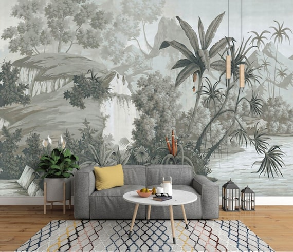 Tropical Rainforest Wallpaper, Vintage Grey Huge Trees with Water and  Plants Scenery Wall Mural, Living Room or Bedroom Wallpaper Wall Mural