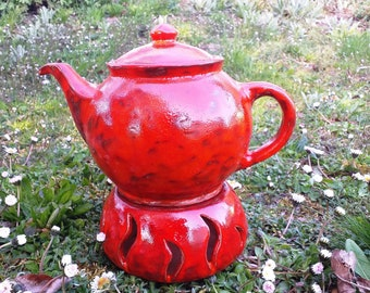 bright red, round teapot coffee pot with ceramic stalks, for 1 litre, as a gift for women for Mother's Day