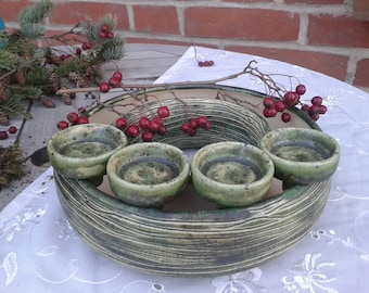 moss green flower ring Advent wreath Ceramic flower wreath with removable tealight holders, 23 cm table decorations for Christmas, fillable