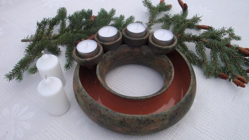 adventskranz weihnachtskranz blumenring keramik mit etsy. Black Bedroom Furniture Sets. Home Design Ideas