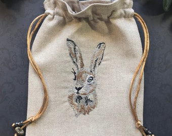Embroidered Natural, Wild Hare, Drawstring Bag, Handmade, Silk Lined